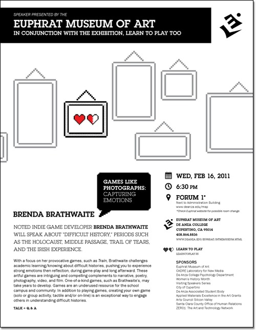 Flyer connected with 'Learn to Play' exhibition. Event with Brenda Braitwaite. Abstract frames with little red hearts in one of them.