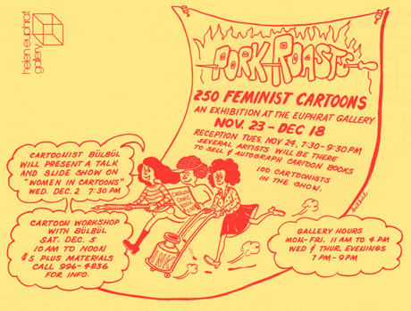 Cartoon of three women running with pen, ink, and paper; info in text bubbles.