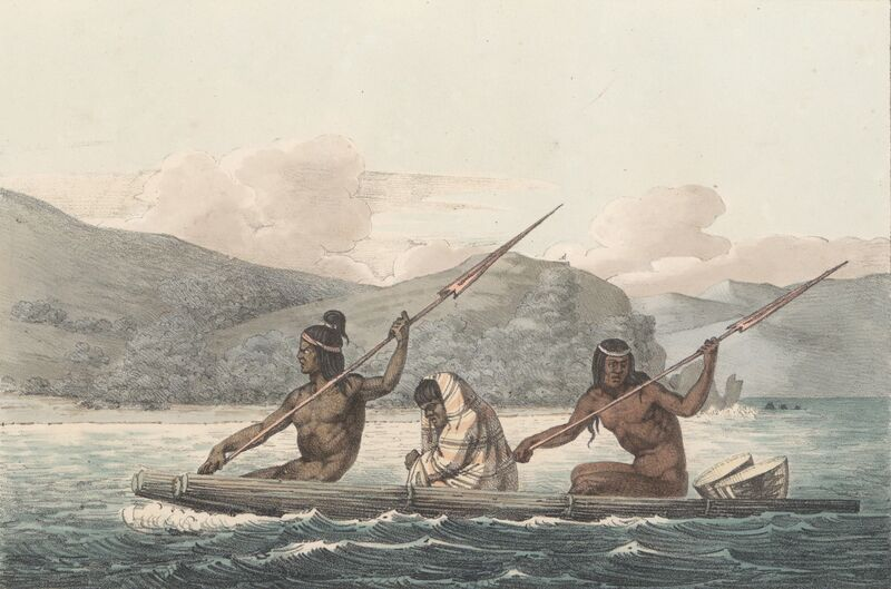 Ohlone natives fishing on the San Francisco Bay in the early 1800s. Artist unknown.