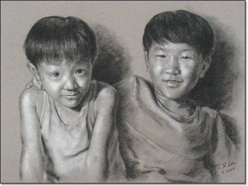 Drawing of two young boys, facing forward, one with arm around the other.