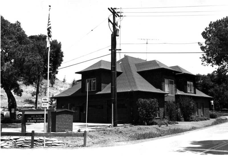 This carriage house, built by the Griffin family in 1901, was used as the Los Altos Hills Fire Department station for many years. Today is houses the district's archives. Photo taken in the 1970's.
