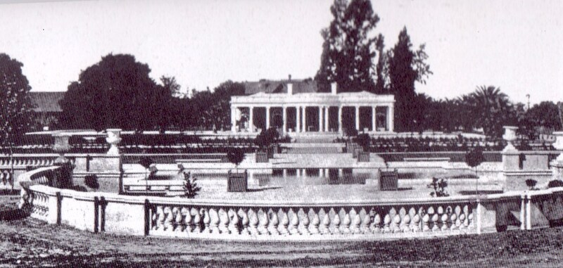 This image of Le Petite Trianon (The California History Center) was likely taken in the early 1900's. The older home of the Baldwins can be seen just over the roof of the newer Pavilion building. One of the adobe buildings that was used to house servants can be seen just to the left of the Pavilion, partially hidden by trees. The picture was taken from the location where the DeHart Learning Center now stands.
