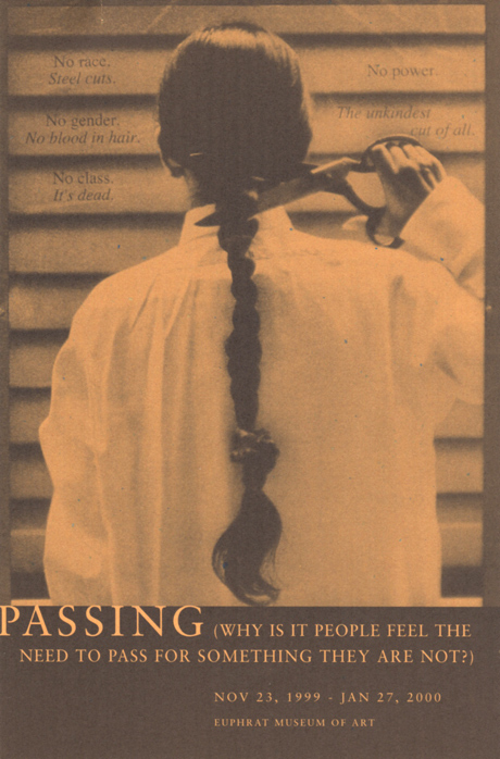 Person in white shirt, back to viewer, poised to cut off their long braid with scissors.