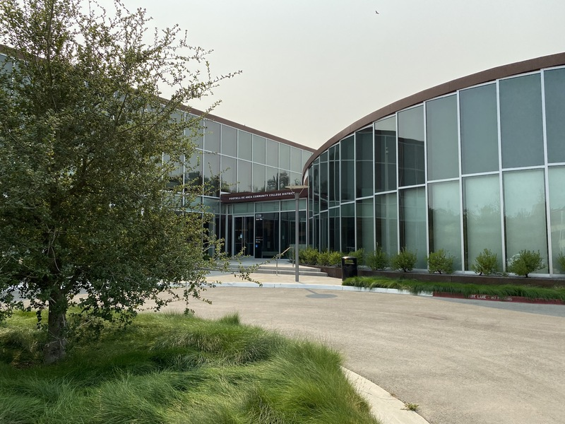 The new FHDA District Office building was completed in 2020. This view shows the main public entrance.