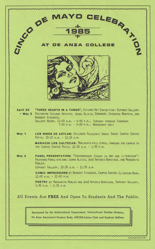 Flyer includes Juana Alicia drawing of a woman's face plus event list.