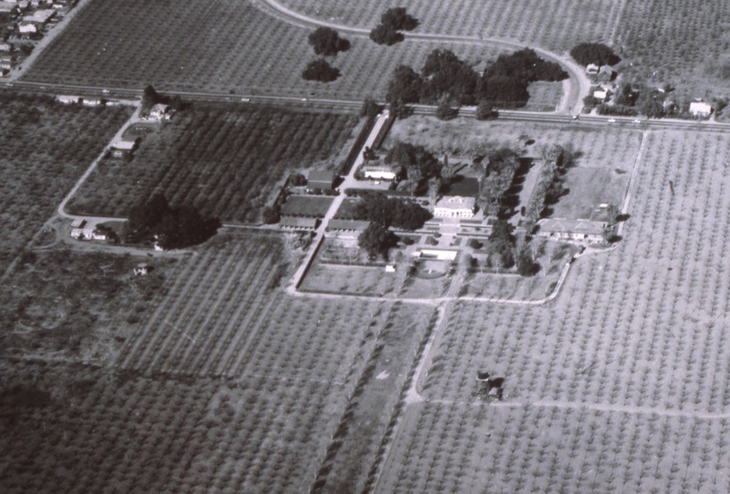An aerial view of the site that would later become De Anza College. Date of photo unknown.