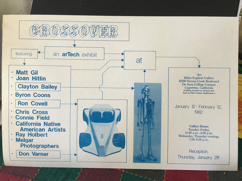 Flow-chart diagram with exhibition text and photos of sculptures: a robot and a car.