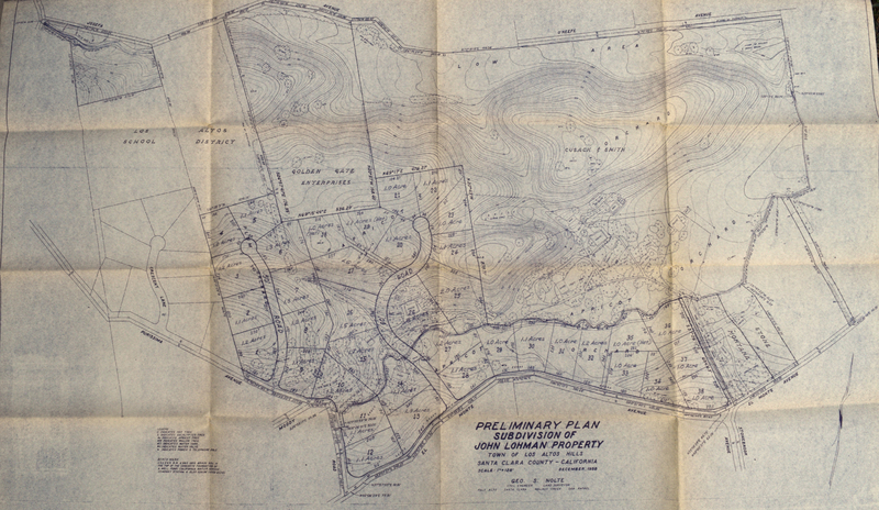 A map of the property prior to the purchase by Foothill College, showing the land owned by the Lohman family, the Cusack family and other smaller partitions.
