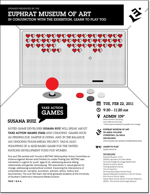 Flyer connected with 'Learn To Play' exhibition. Event with Susana Ruiz and Take Action Games. Game console with numerous red hearts on the screen.
