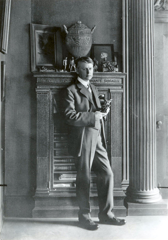 Renown architect Willis Polk stands in his San Francisco office in 1913. He designed many famous buildings, one of which was Le Petite Trianon. Image courtesy of U.C Berkeley Bancroft Library.