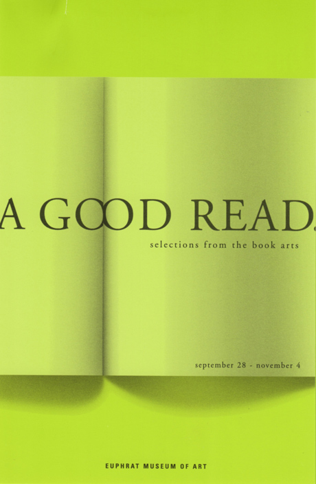Yellow-green announcement with image of an open book.