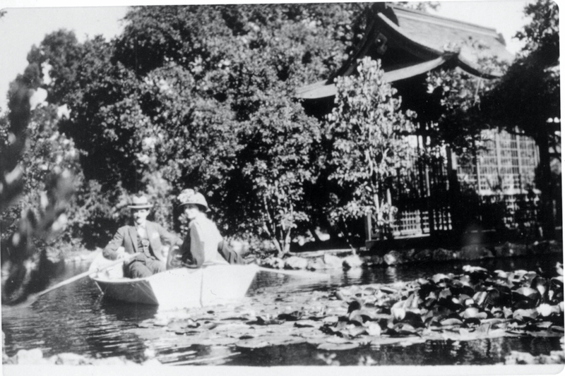 The Griffin fish pond and tea house were a favorite spot for family relaxation. The man and woman in the boat are not identified but are believed to be Willard C. Griffin, grandson of Willard M., and his wife. Photo likely taken in the late 1930s or early 1940s.