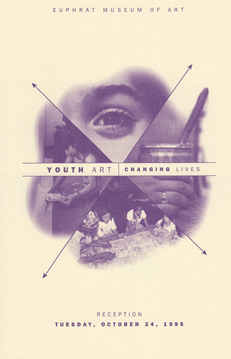 Announcement includes four photographic details of youth creating art.