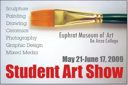Design with horizontal green paintbrush at the top, red show title below.
