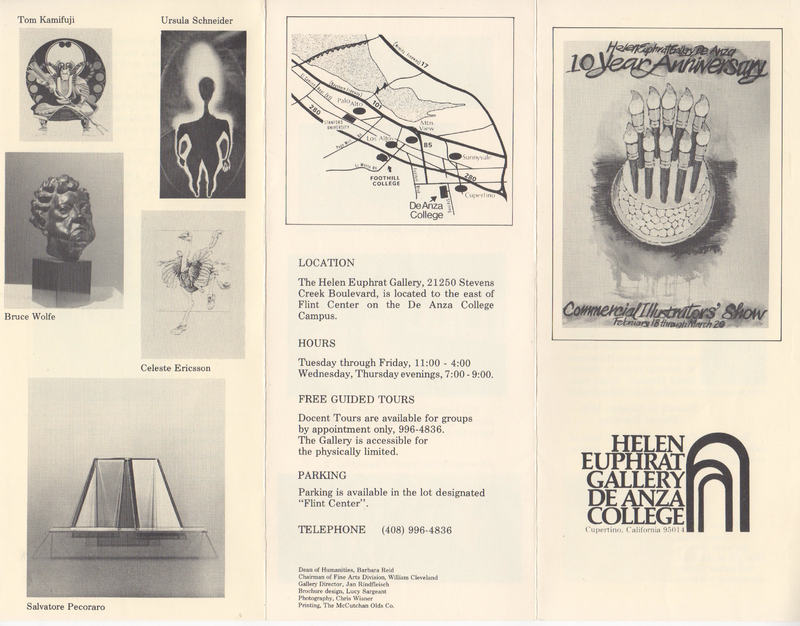 Brochure includes small images of art plus a map showing gallery location.