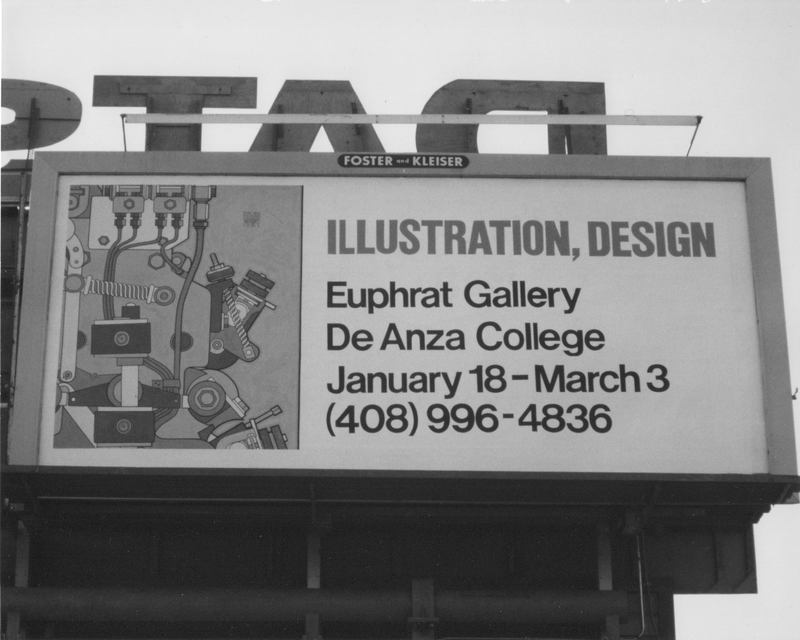 Billboard photo includes exhibition information and a machine-parts poster detail.