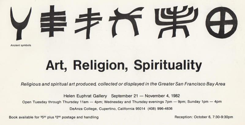 Announcement has six black graphic ancient religious symbols.