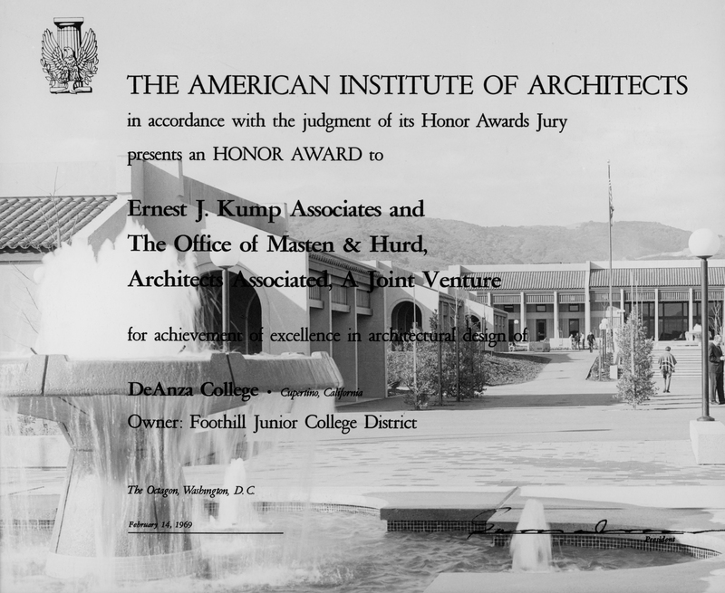 In 1969 De Anza College and Architects Associated (Ernest J. Kump and The Office of Masten and Hurd) received the Honor Award from The American Institute of Architects.