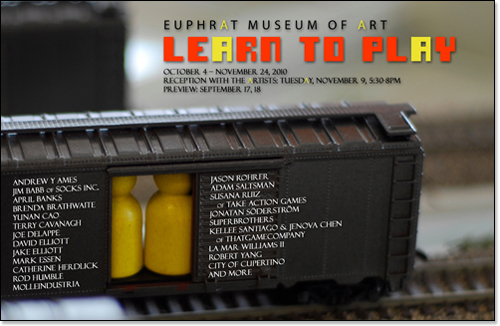 Toy train boxcar with game pieces inside. Basic show info.