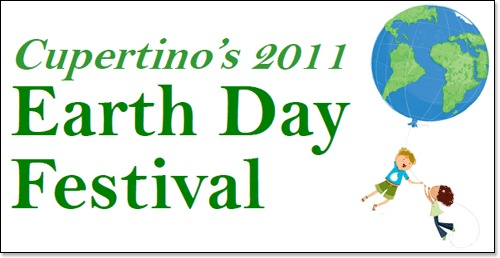 Graphic for Cupertino's 2011 Earth Day Festival with small image of world and two children