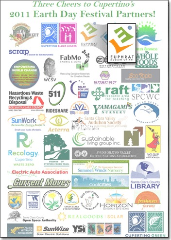 Sheet of logos of all the Earth Day sponsors including Euphrat.