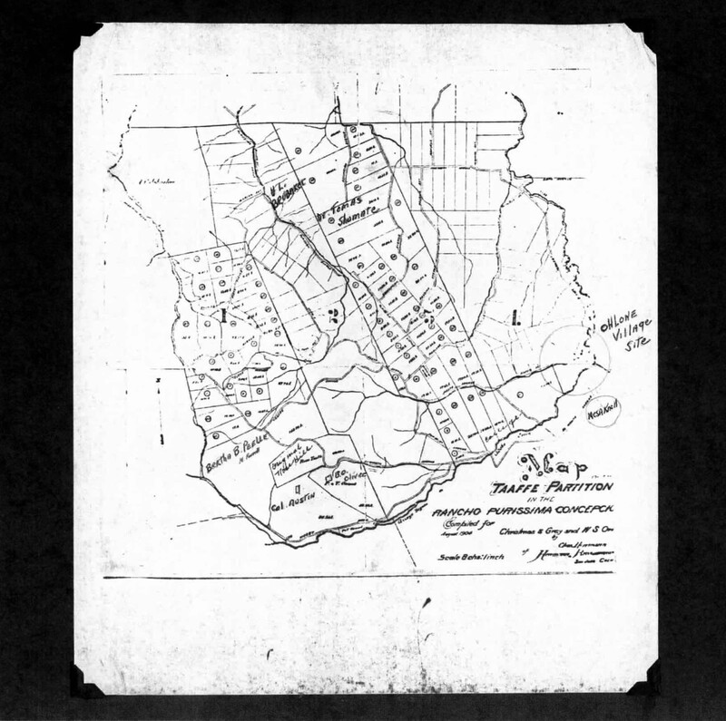 A map, created in 1904, showing the approximate location of the Ohlone Village on the Taaffe property.