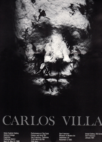 Poster with close-up of rough-textured Carlos Villa plaster face mask with feathers.