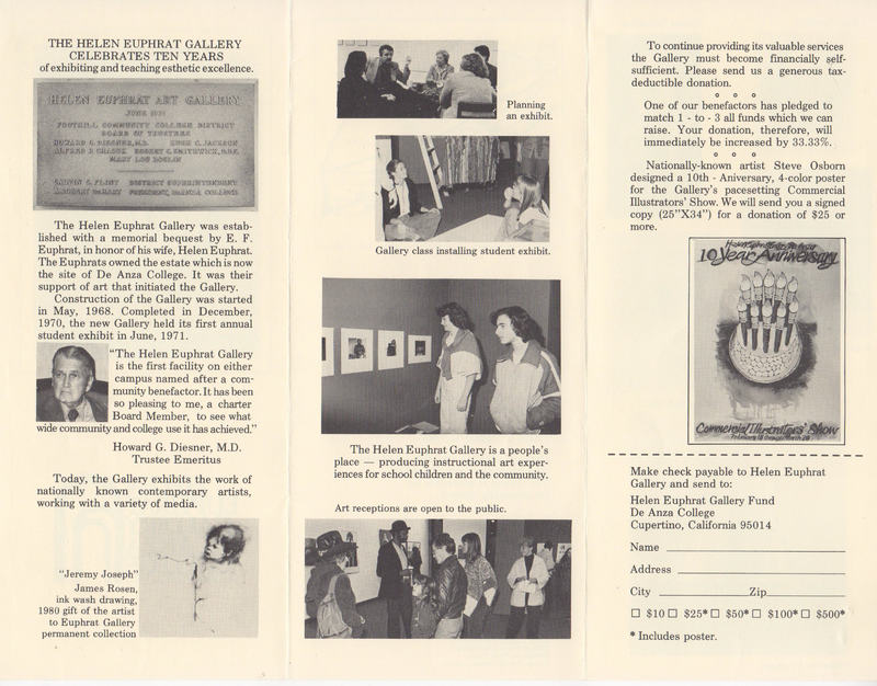 Brochure includes small images of people in the gallery.