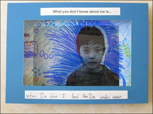 Art with child's face, blue background, and words 'when I'm blue I feel like I'm under water.'