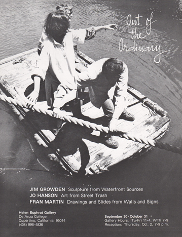 Announcement for 'Out of the Ordinary' exhibition, with photo of three people on a raft.