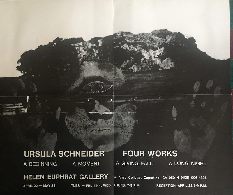 Poster with landscape superimposed with two hands, face with one eye.