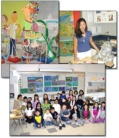 Composite of three photos: a student artwork, a student with her art , and a classroom of students in front of their paintings.