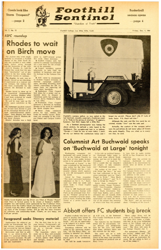 Foothill Sentinel December 12 1964