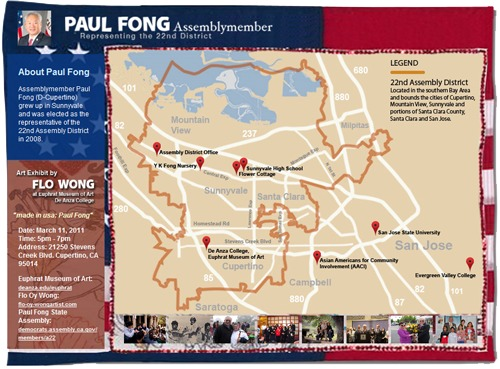 Map related to Paul Fong, Flo Oy Wong's art, and key locations in Fong's 22nd Assembly District.