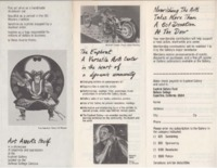 Brochure inside with examples of small pictorial and sculptural artworks.