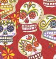 Close up of sugar skulls for Dia de los Muertos.