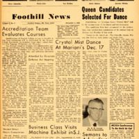 The Sentinel, Foothill College Newspaper, December 5, 1958